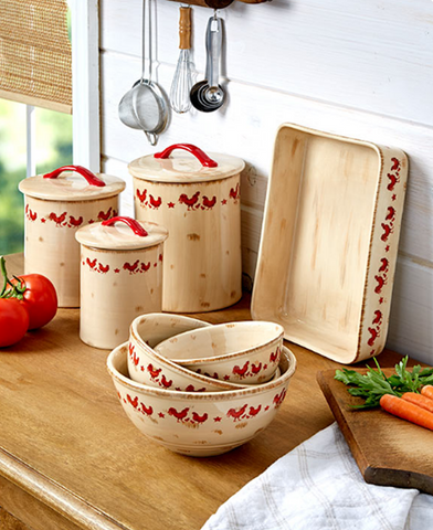 Kitchen Decorative Theme Rooster Collection Canisters, Bowls or Baker