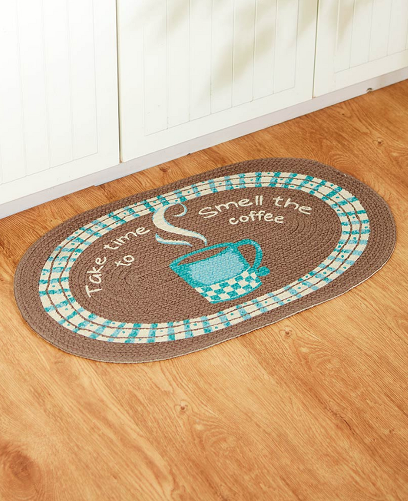 Cotton Braided Coffee Kitchen Floor Rug Oval