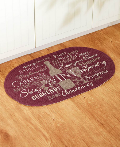 Cotton Braided Winery Kitchen Floor Rug Oval