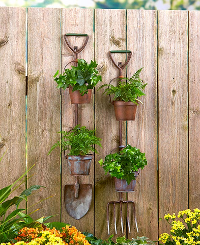 Flowers Herbal Garden Rustic Tool Pots Planters Shovel or Pitchfork Display