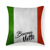 Italian Flag Buona Notte Premium Microfiber Fabric Throw Square Pillow