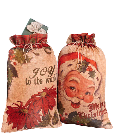 2 Christmas Holiday Santa Claus Oversized Gift Sacks Drawstring Bags