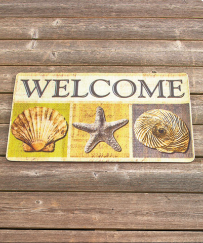 Seashells Brightly Colored Themed Welcome Mat
