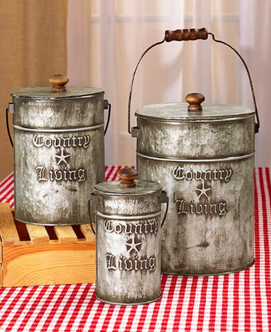 Set of 3 Rustic Country Living Canisters Home Decor Accents