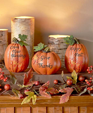 Rustic Look Set of 3 Harvest Pumpkins Halloween Decorations