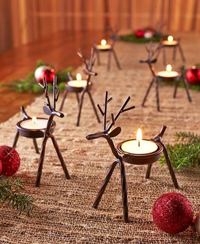 Set of 6 Holiday Display Metal Reindeer Tea Light or LED Candle Holders