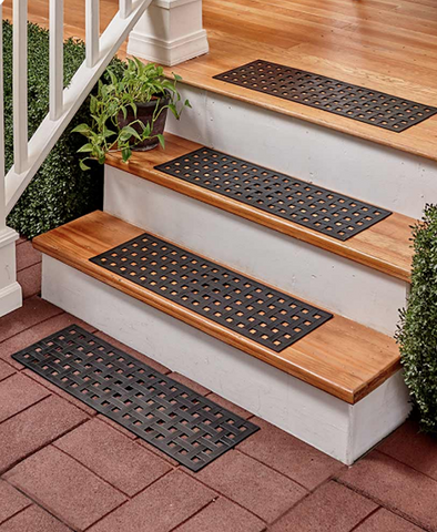 Unique Weave Braided Rubber Stair Treads Mats Set of 4