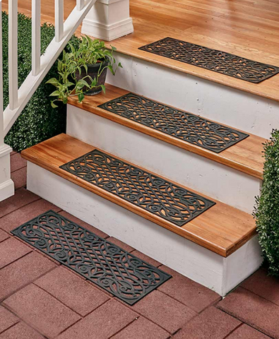 Unique Scroll Rubber Stair Treads Mats Set of 4
