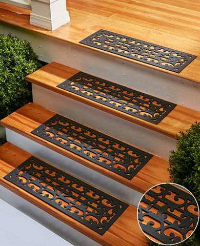Traction Control Decorative and Functional Rubber Unique Stair Treads Mats