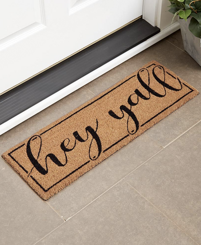 "Front Patio Door Mat 30"" x 10"" Welcome Hey Yall Shaped Rug Doormat"