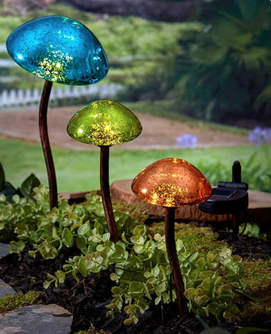 Outdoor Solar Powered Mushroom Garden Lights Set of 3