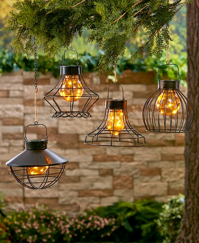 Outdoor Yard Hanging Solar Powered Rustic White Fairy Lights Lanterns