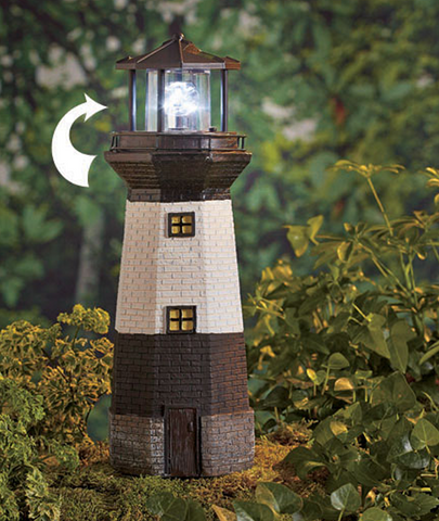 Solar Motion Lighthouse Spins & Glows Outdoor Decor