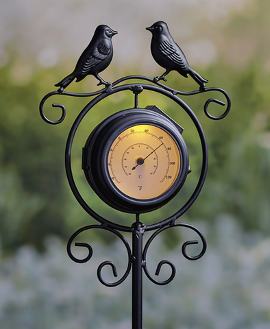 Solar Powered Double-Sided Clock/Thermometer Garden Stake Decor Bird Silhouettes