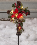 Solar Powered Christmas Holiday Lighted Cross Stake