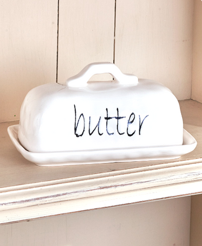 White Farmhouse Kitchen Tabletop Butter Dish