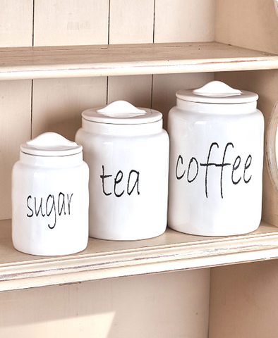 White Farmhouse Kitchen Countertop Sugar Tea Coffee Canister Set