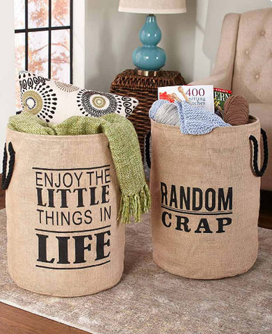 Inspirational Phrase Storage & Organization Bins with Words