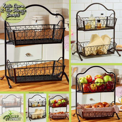 Farmhouse Kitchen or Bathroom Rustic 2-Tier Storage Baskets