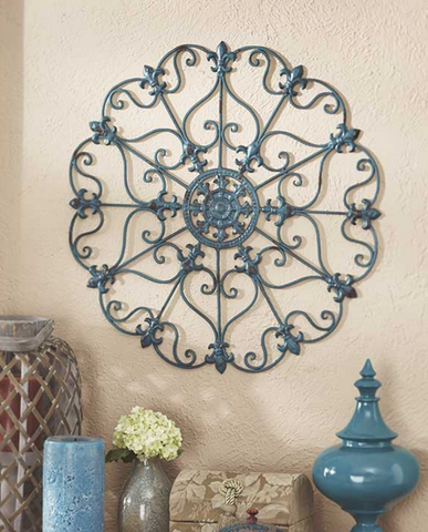 Teal Metal Antiqued Finish Iron Wall Medallions Display Hangs Indoors or Porch or Patio Wall Art Decor Home Decorations
