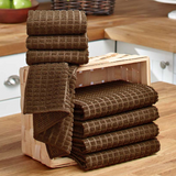 Microfiber 8-Pc. Chocolate Hanging Decorative Kitchen Towels Set