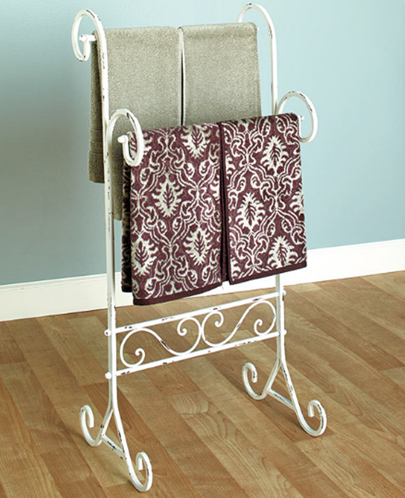Rustic Antiqued Finish Vintage Bathroom Decor Towel Stand