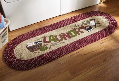 "20"" X 48"" Burgundy Vintage Laundry Room Decorative Braided Area Runner - Rug - Floor Mat - (Laundry Room Decor- Laundry Room Ideas Designs)"