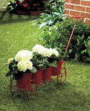 Vintage Garden 4 Pots Decorative Metal Wagon Planter