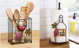 Kitchen Organization Wine-Themed Paper Towel and Utensil Holder Storage Set