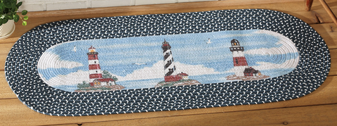 Lighthouse Braided Nautical Runner Rug Great for Bedroom, Entryway, Den, Family Room