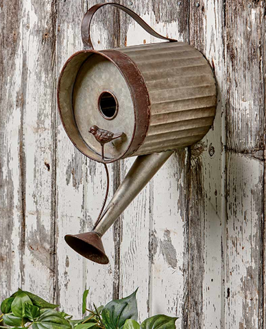 Decorative Rustic Country Decor Watering Can Garden Birdhouse