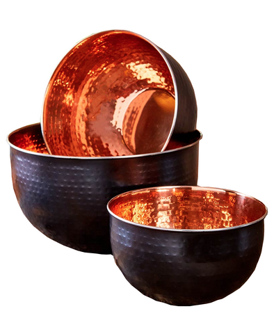 Kitchen Black with Copper-Colored inside Mixing Bowls Set of 3