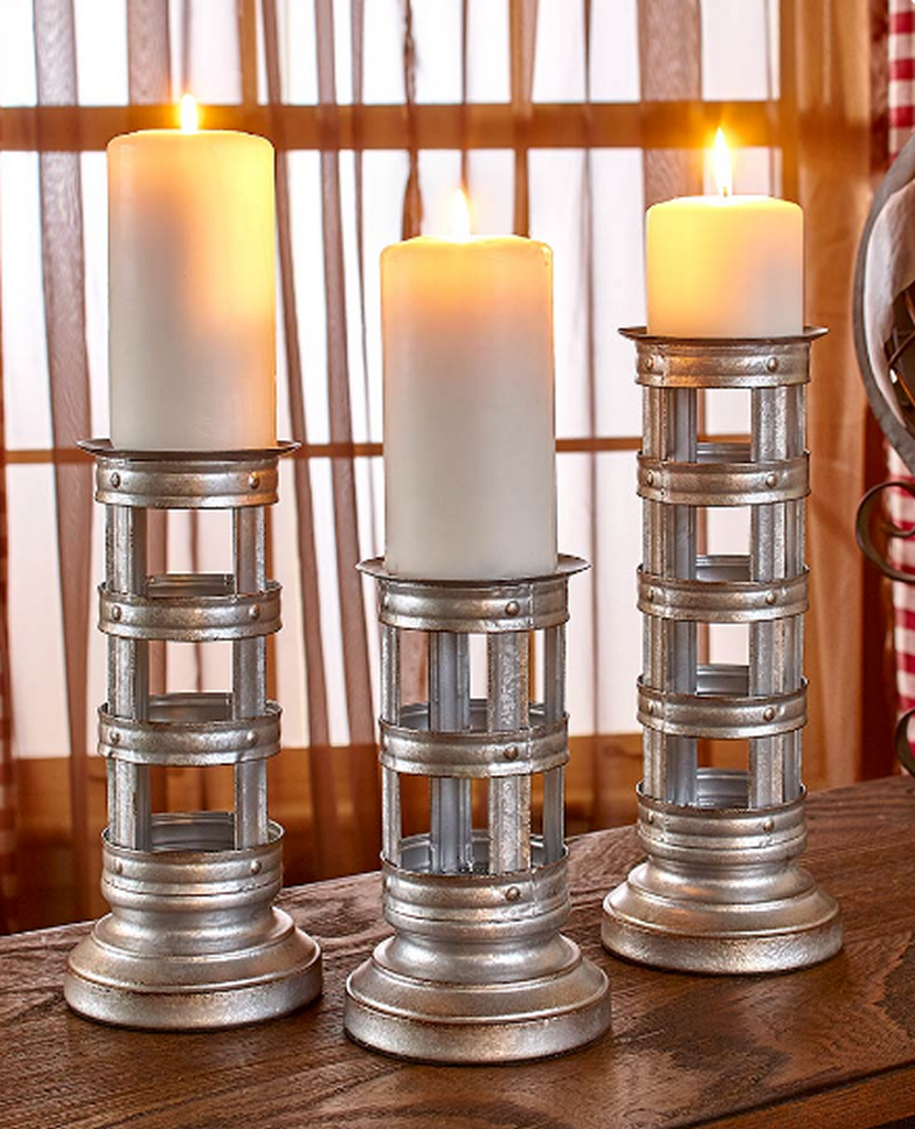 Set of 3 Rustic Country Vintage Industrial Design Metal Pillar Candleholders