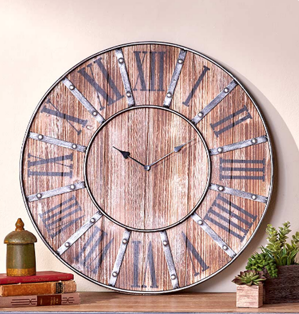 Vintage Farmhouse Oversized Rustic Wall Clocks 23""