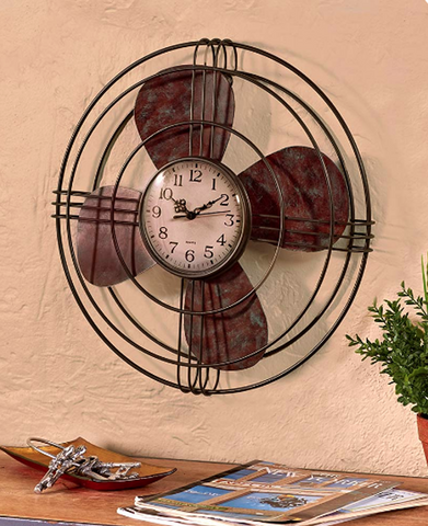 Vintage Antique Fan Industrial Decor Theme Distressed Wall Clock