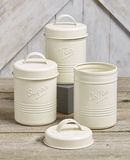 Country Farmhouse Kitchen Set Of 3 Vintage Metal Canisters