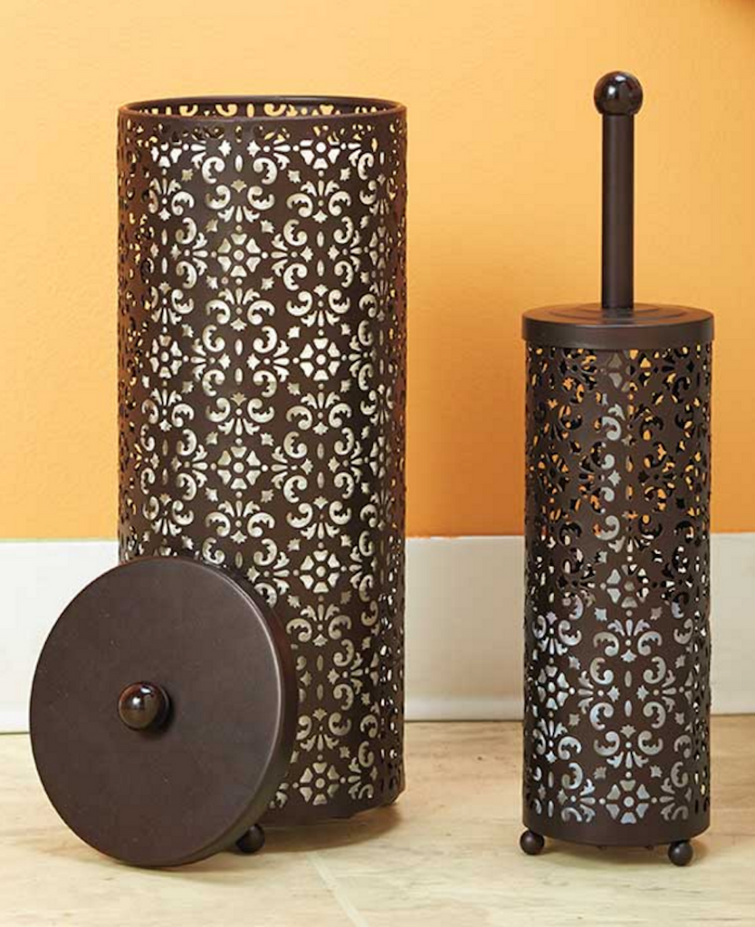 Decorative Elegant Style 2-pc. Chocolate Toilet Paper Holder & Toilet Brush Holder Set
