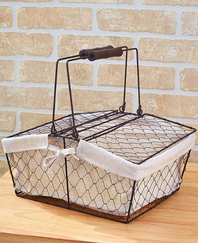 Country Farmhouse Kitchen Chicken Wire Fabric Lined Handled Basket