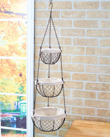 Country Farmhouse Kitchen Chicken Wire Fabric Lined Hanging Baskets