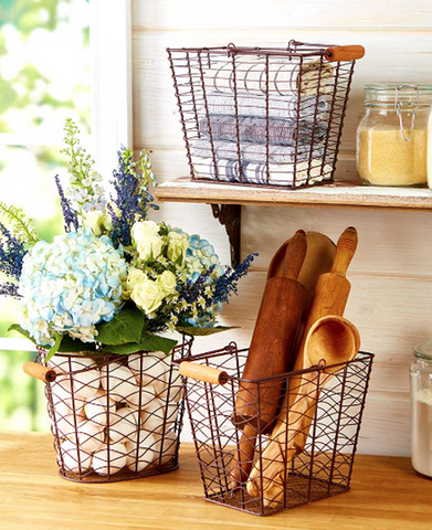Country Farmhouse Rustic Storage & Organization Baskets Set of 3