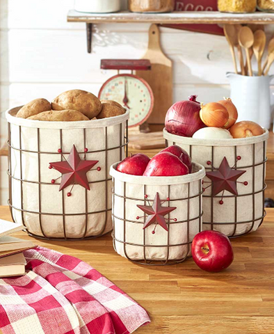 Star & Berry Farmhouse Kitchen Country Vegetable Fruit Storage Baskets Sets