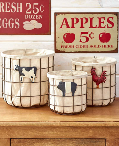 Farmhouse Kitchen Country Vegetable & Fruit Storage Baskets Set of 3