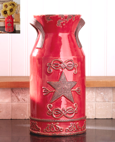 Rustic Country Farmhouse Star Flower Ceramic Vase Decor