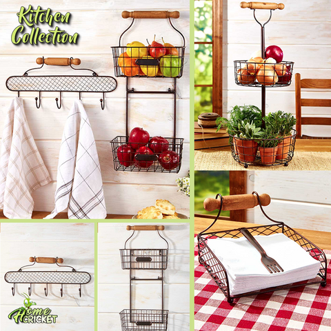 Rustic Country Farmhouse Kitchen Baskets & Holder Collection