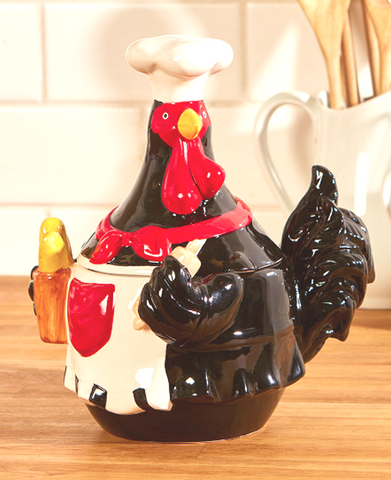 Country Farmhouse Kitchen Chef Ceramic Rooster Cookie Jar