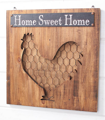 "Country Farmhouse Rooster Vintage-Inspired Wall Hanging Sign ""Home Sweet Home"""