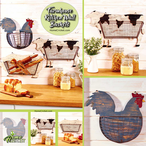 Country Farmhouse Kitchen Storage & Organization Wall Baskets