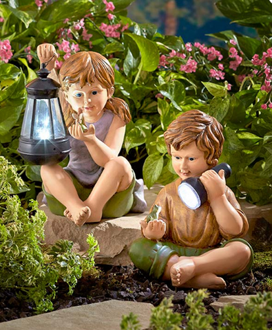 Solar Powered Child Garden Yard Statue Decor