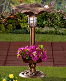 Solar Powered Leaf-Shaped Bird Watch Bath Feeder with Flowers Planter