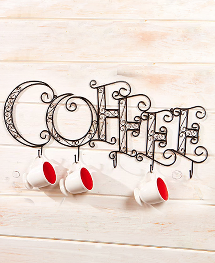Wall Mounted Coffee Mug Rack Decorative Display
